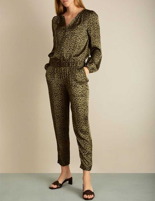 Dea Kudibal deborah silk jumpsuit - animal army green
