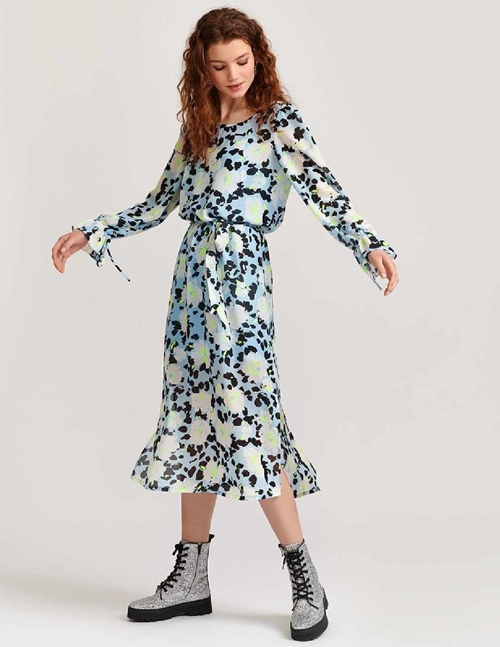 Essentiel Antwerp Vekken Belted Midi Dress (Light Blue Floral)