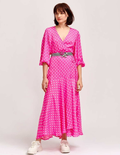 vundamental wrap dress - neon pink / off - white polka dot