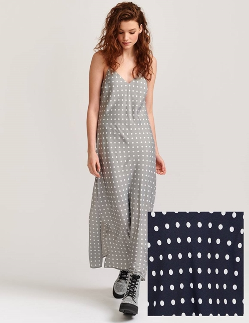 Essentiel Antwerp Veva Slip Dress (Dark Blue Polka Dots)