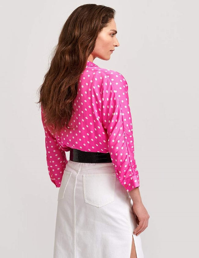 Essentiel Antwerp Viral Shirt (Neon Pink Polkadot) side