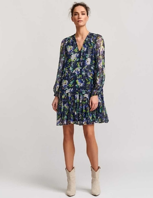 vauto frill dress - dark blue floral