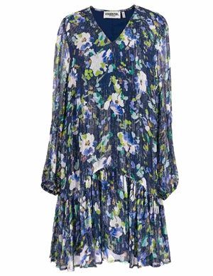 vauto frill dress - dark blue floral back