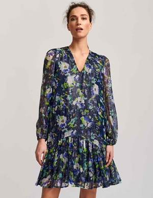 vauto frill dress - dark blue floral side