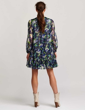 vauto frill dress - dark blue floral detail