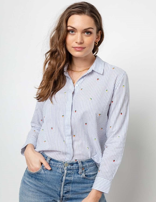 taylor shirt - blue stripe / embroidered citrus