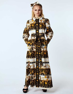 Hayley Menzies maxi shirt dress with sash - enchanted leopard