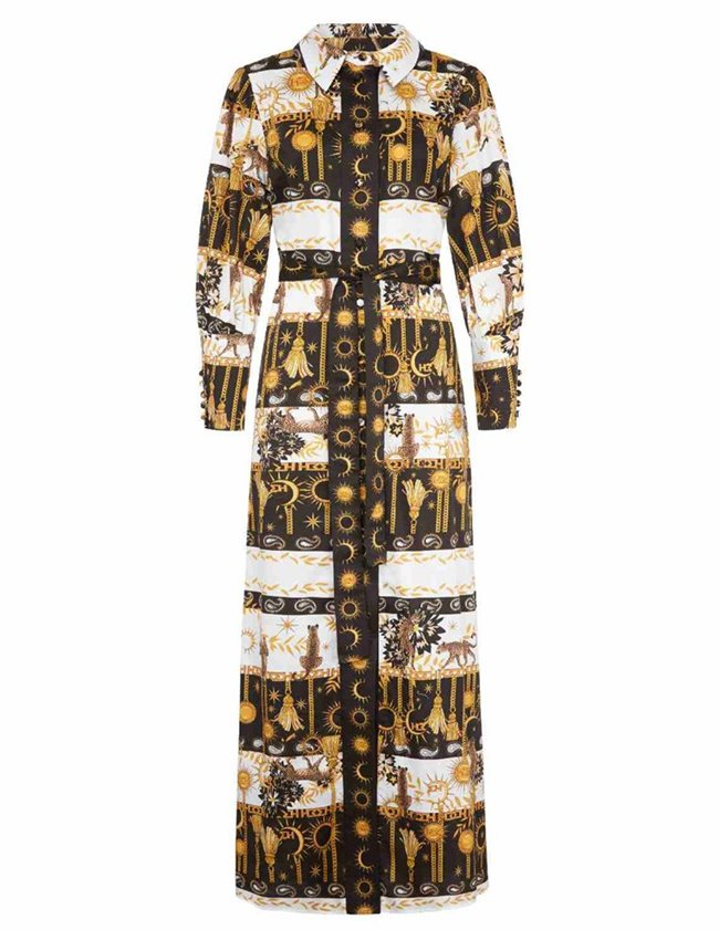 Hayley Menzies maxi shirt dress with sash - enchanted leopard back