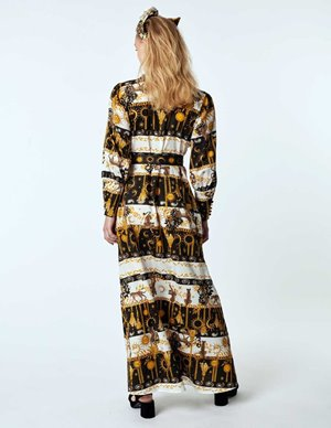 Hayley Menzies maxi shirt dress with sash - enchanted leopard side