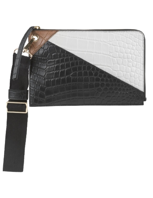 england clutch bag - black / cream