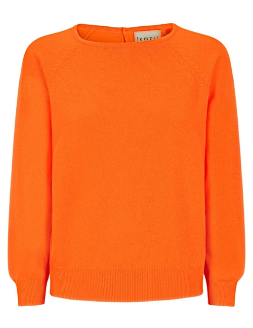 button back crew jumper - neon orange