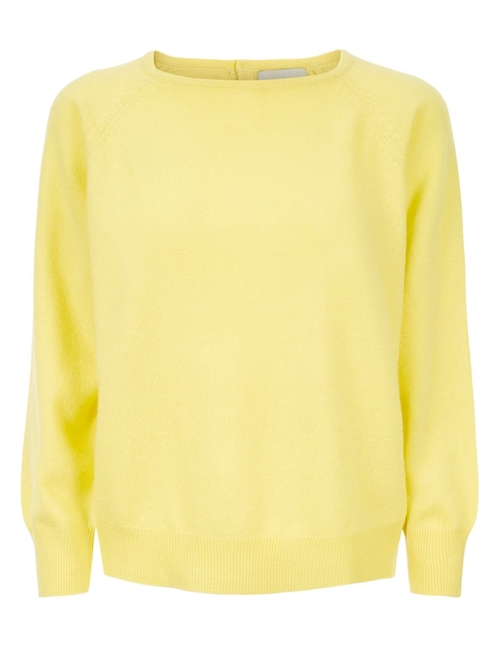button back crew jumper - citrus yellow