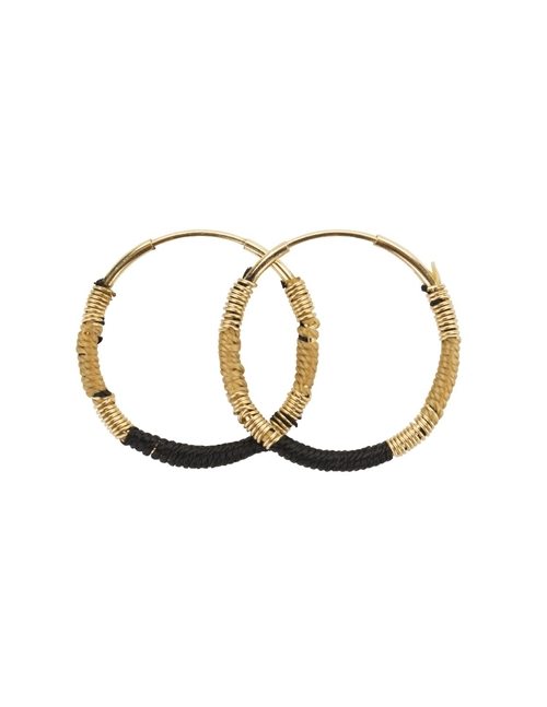 Une A Une esmbn hoop earrings - beige / black