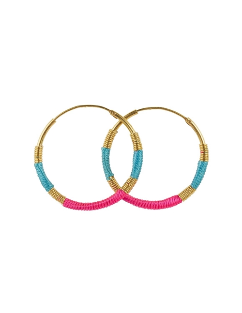 Une A Une esmpf hoop earrings - turquoise / pink