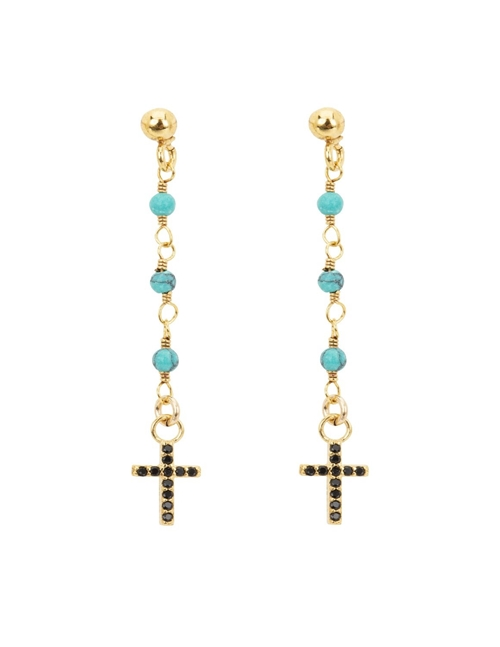 Une A Une boclq cross earrings - gold / turquoise