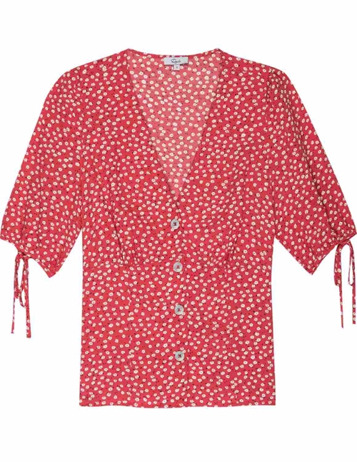 amelia blouse - red / carmine daisies