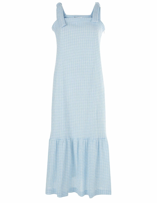 Harris Wharf London summer bow dress vichy - baby blue