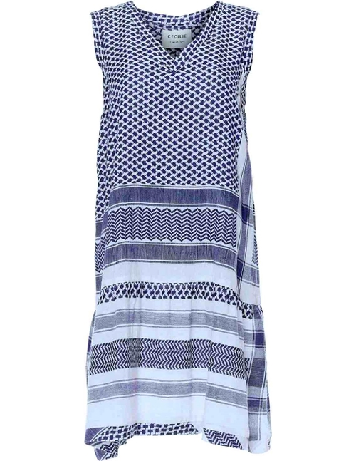 Cecilie Copenhagen Dress 2 V No Sleeves (Navy/White)