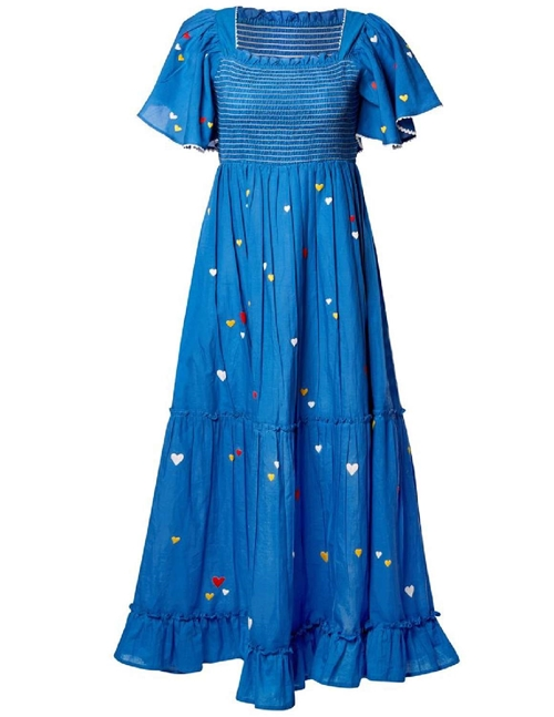 Pink City Prints lolita long embroidered dress - blue / love hearts