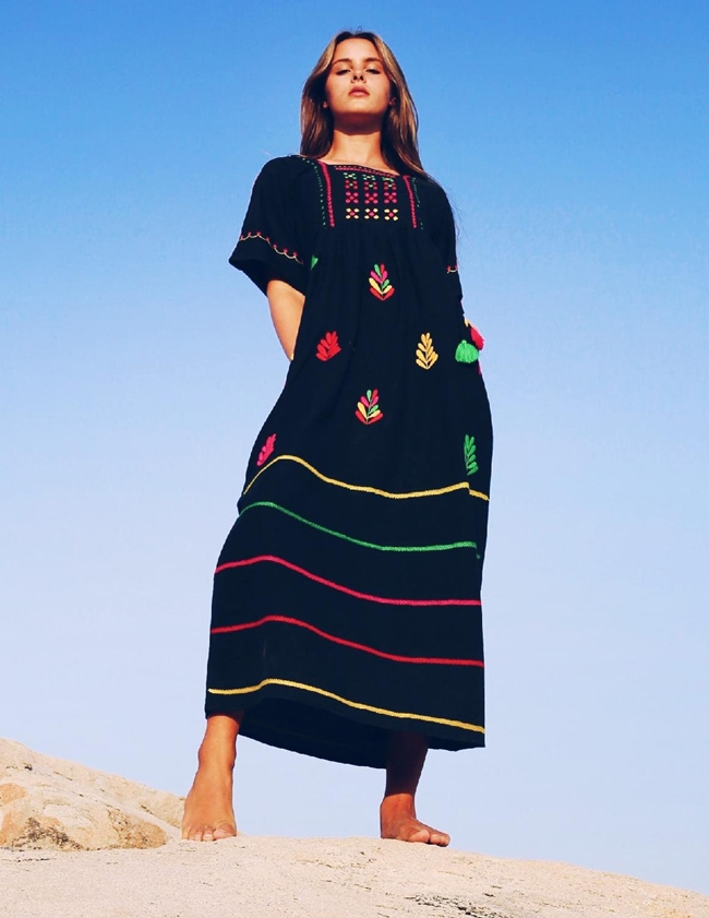 Pink City Prints south american long dress - black