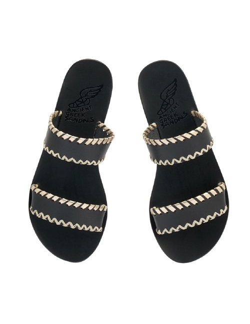 Ancient Greek Sandals melia stitch sandals - black / platinum