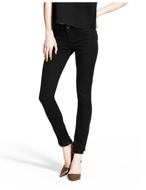 florence mid-rise skinny jeans - riker / black