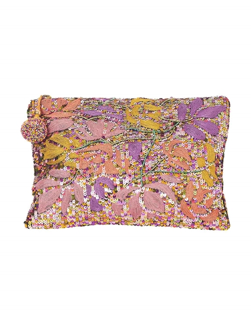 elara sequin and embroidered clutch bag - multi colours