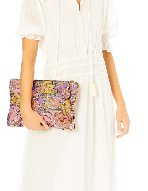 M.A.B.E elara sequin and embroidered clutch bag - multi colours