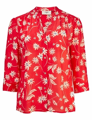 Pyrus ava silk blouse - red / ecru simple flowers back