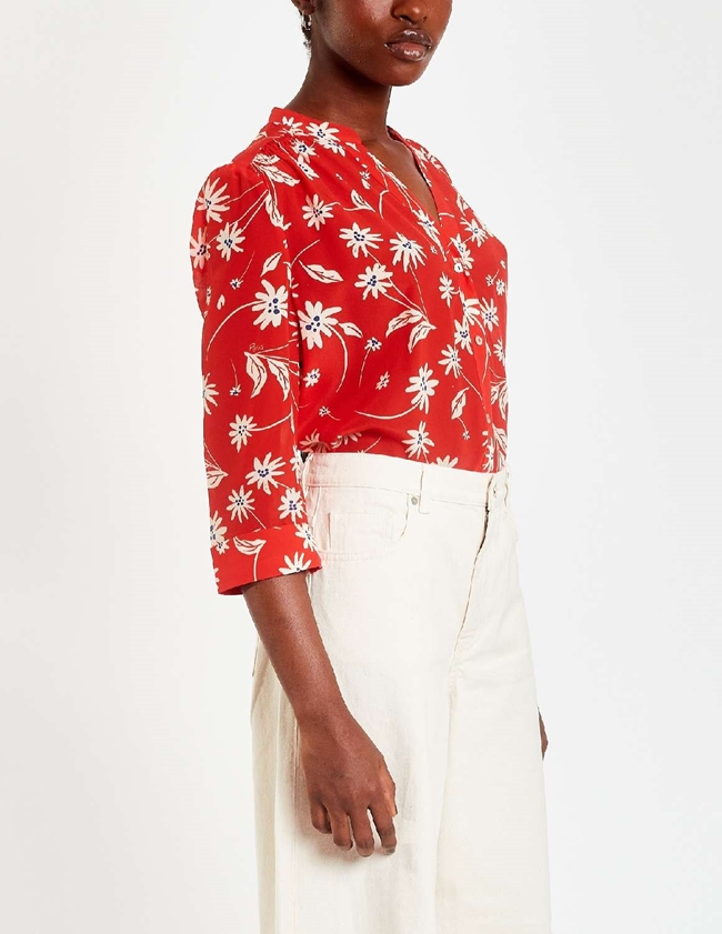 Pyrus ava silk blouse - red / ecru simple flowers side
