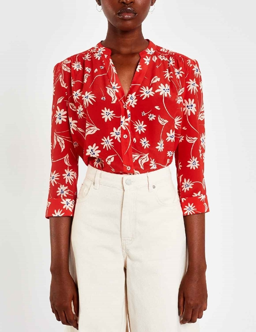 Pyrus ava silk blouse - red / ecru simple flowers