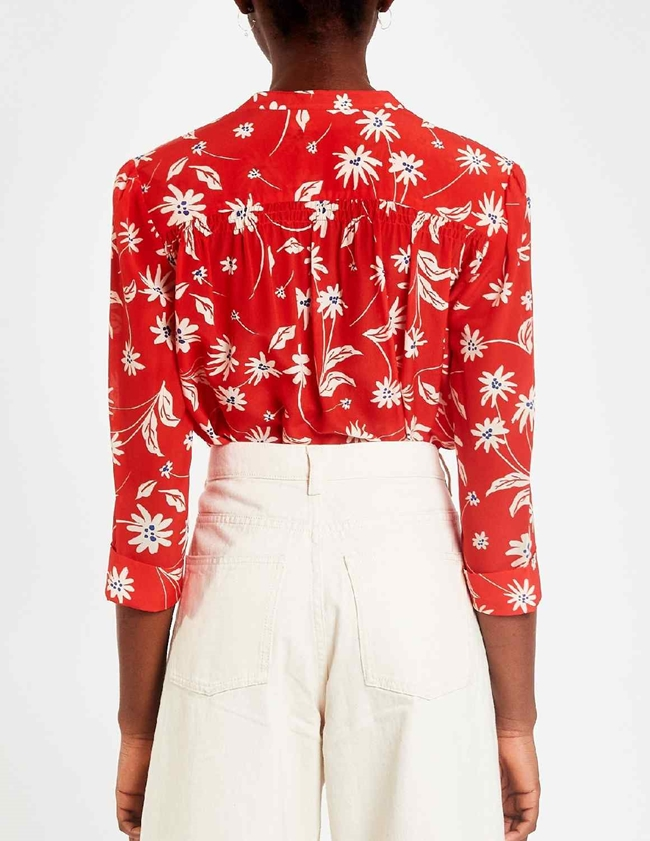 Pyrus ava silk blouse - red / ecru simple flowers detail