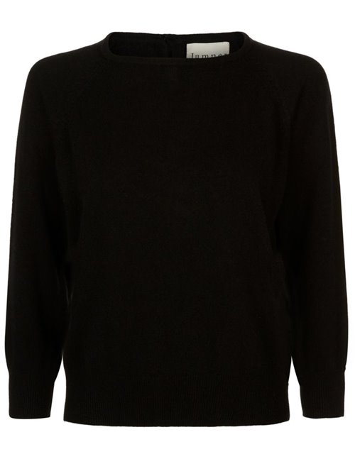 button back crew jumper - black