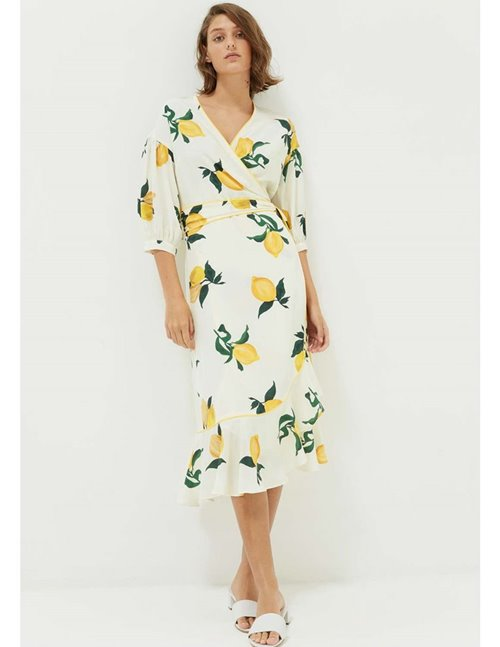 lemon silk wrap dress - ivory