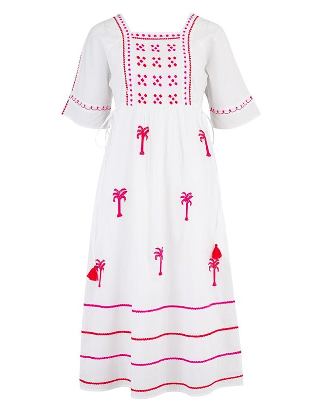 Pink City Prints south american short dress - white / ruby red
