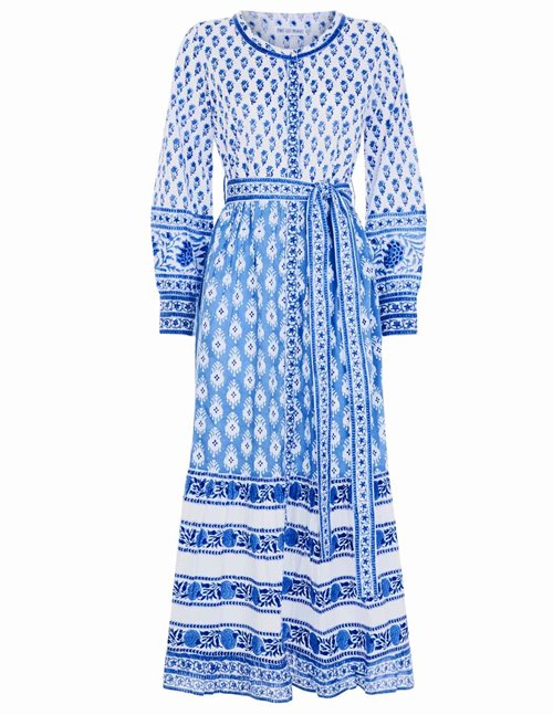 panama mid dress - provencal blue / white