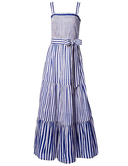 betty dress - indigo stripe