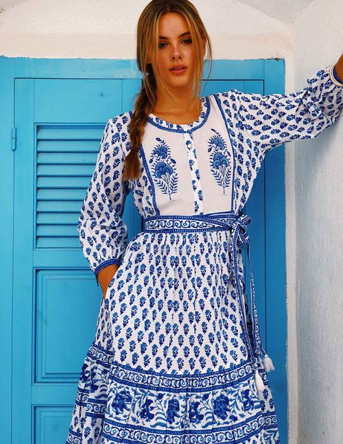 prairie dress - provencal blue / white