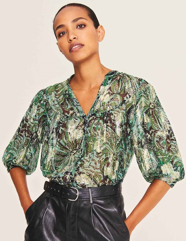 ba&sh quincy blouse - green watercolour