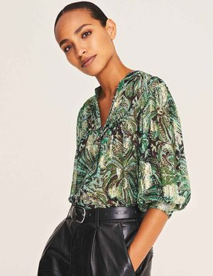 ba&sh quincy blouse - green watercolour side