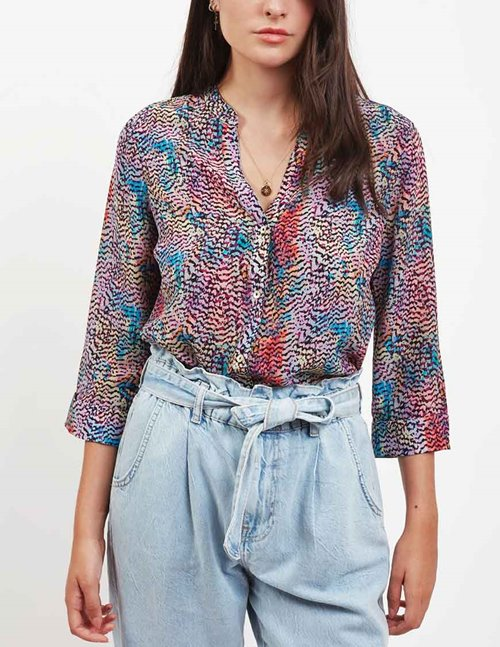 Pyrus hive silk blouse - iridescent feathers