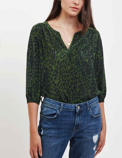 Pyrus grace silk blouse - swirly animal green