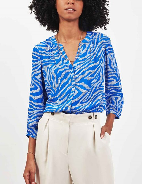 Pyrus arlo blouse - dot zebra blue