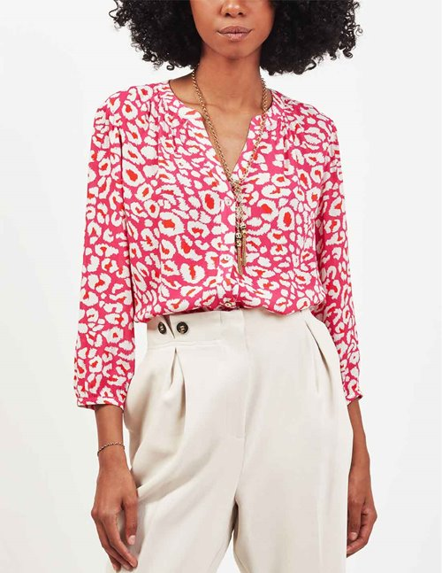 Pyrus arlo blouse - acid pink animal