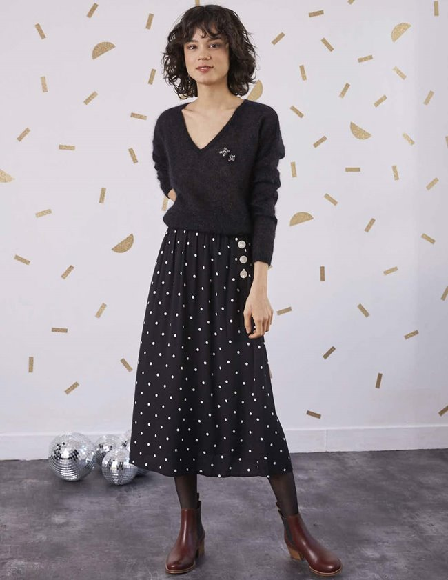 Des Petits Hauts robertino skirt - black & white polka dot