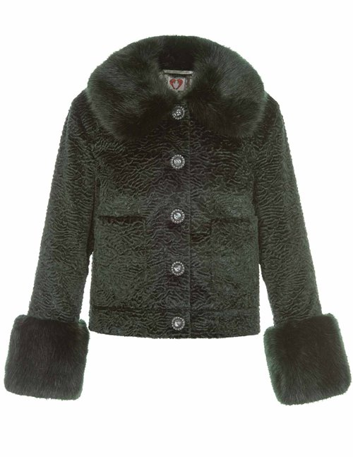 Shrimps clay faux fur jacket - forest green