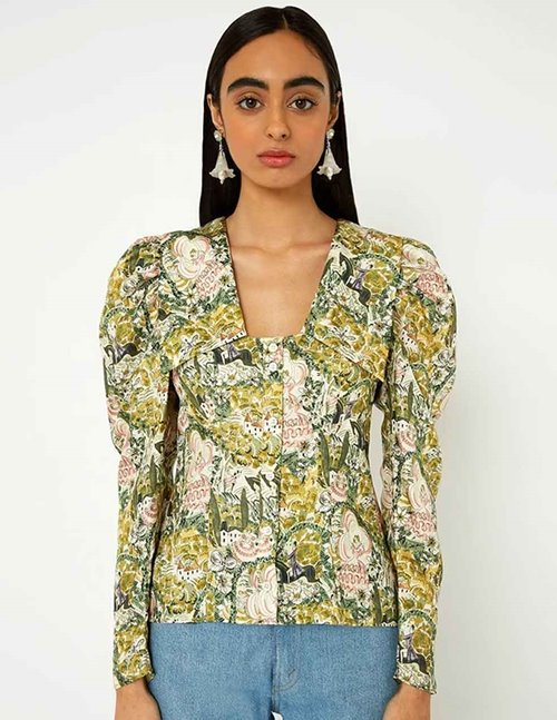 Shrimps elliot silk top - green multi