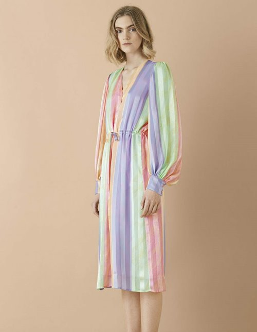 violet dress - rainbow stripes