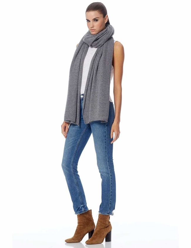 360 Cashmere linus scarf - heather grey back