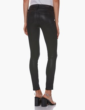 Paige hoxton skinny ankle jeans - black fog luxe coating detail